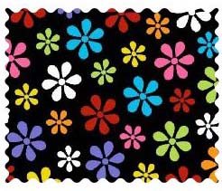 Fabric Shop – Primary Colorful On Black Floral Woven Fabric – Yard