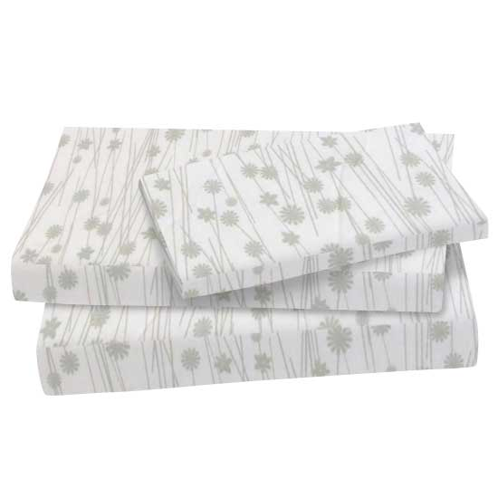 Cotton | Pillow | Floral | Sheet | Twin | Grey | Set