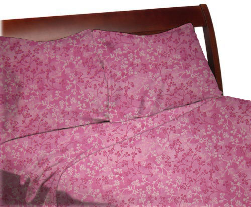 Twin Sheet Sets – Pink Floral Cotton Woven Twin – Sheet Set (fitted, flat, pillow case)