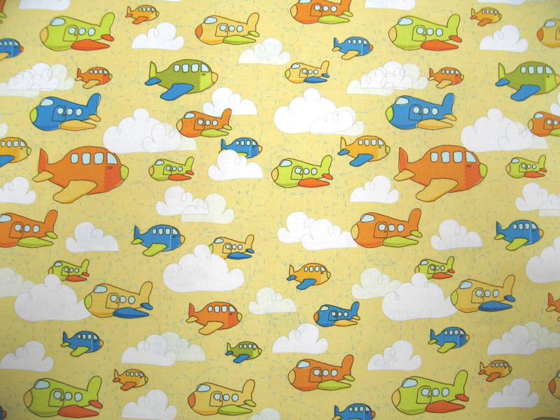baby bedding - Travel Crib Light (Fits BabyBjorn) - Airplanes Yellow - Fitted - Travel Crib Light Sheets