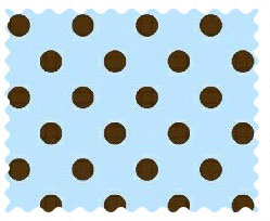 Fabric Shop – Brown Polka Dots Blue Woven Fabric – Yard