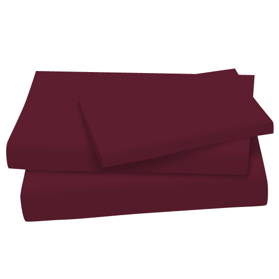 SheetWorld Flat Twin Sheet - Solid Burgundy Cotton Jersey Knit - Made In USA