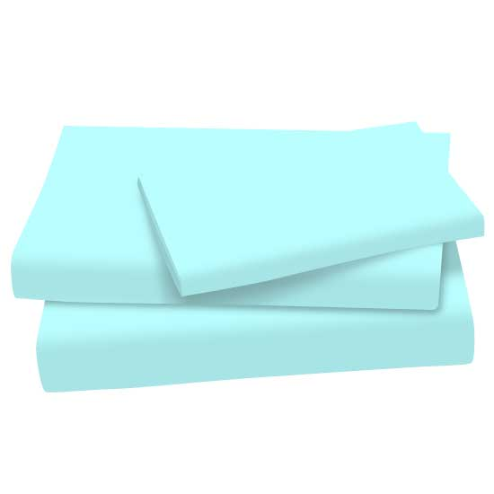 SheetWorld Fitted Twin Sheet - Solid Aqua Cotton Jersey Knit - Made In USA