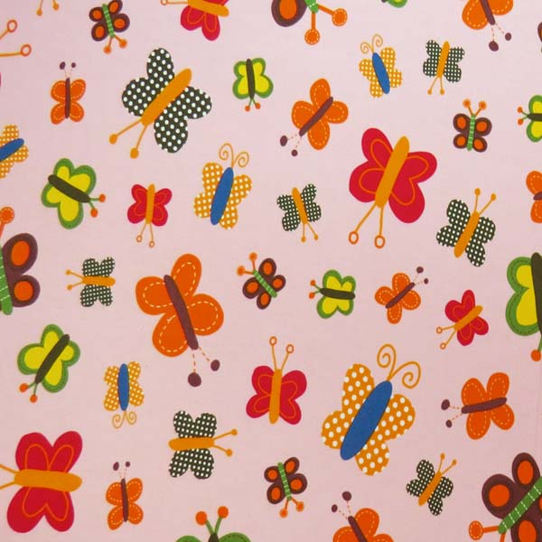 SheetWorld Round Crib Sheets - Bright Butterflies Pink - Made In USA