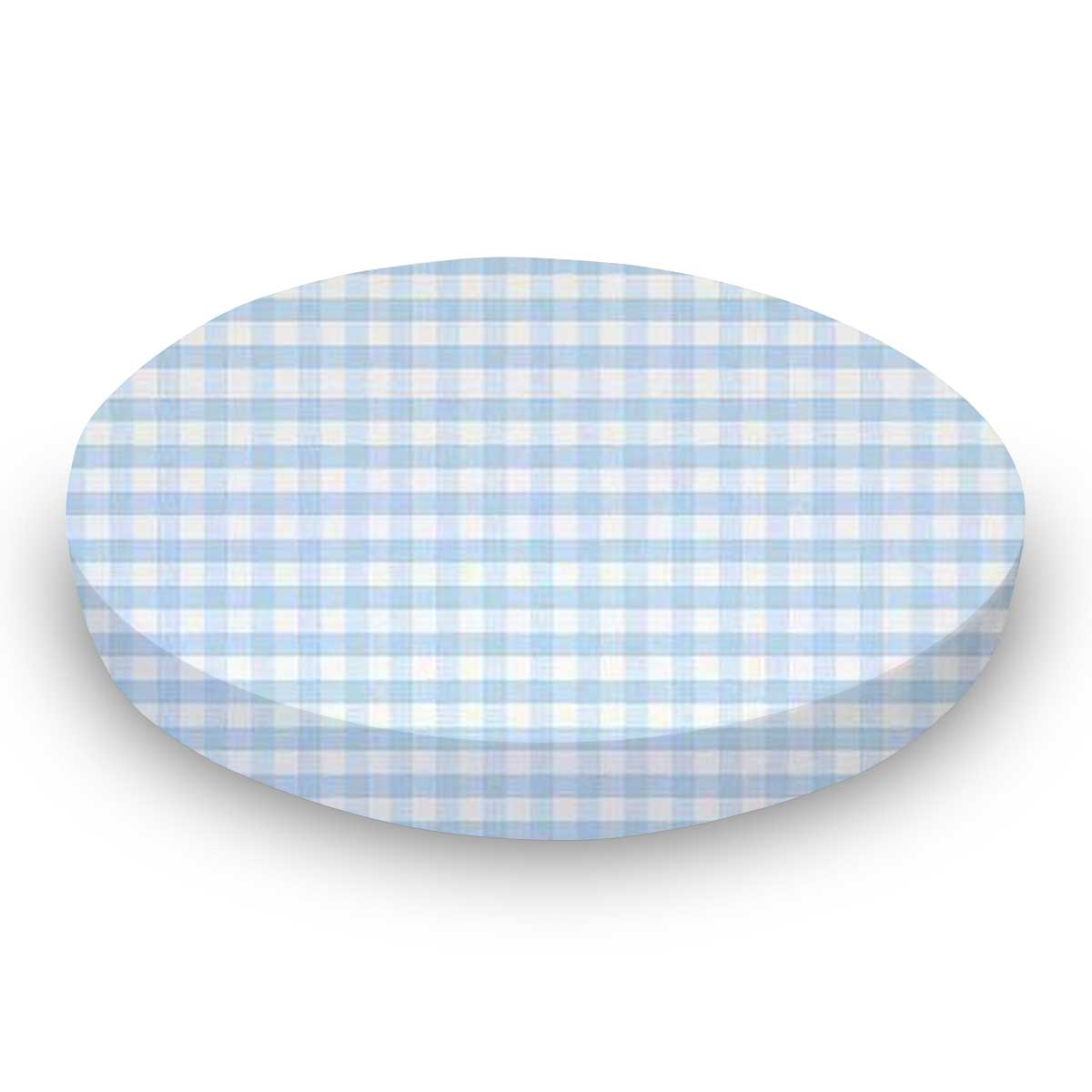 Blue Gingham Jersey Knit