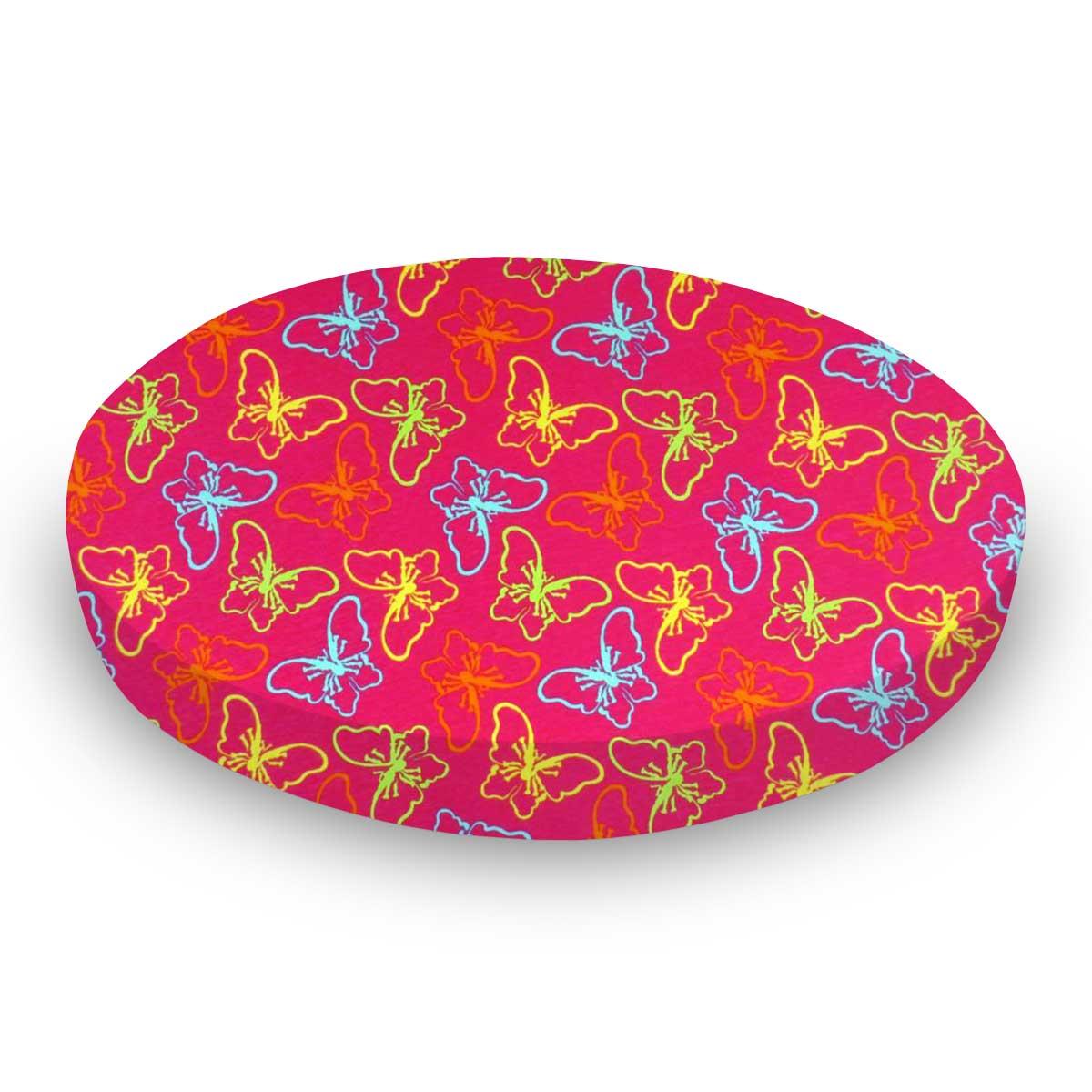 Butterflies Hot Pink Jersey Knit