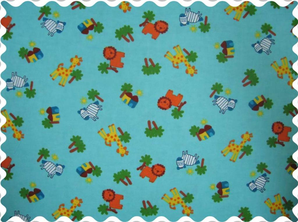 Fabric Shop – Safari Animals Aqua Fabric – Yard