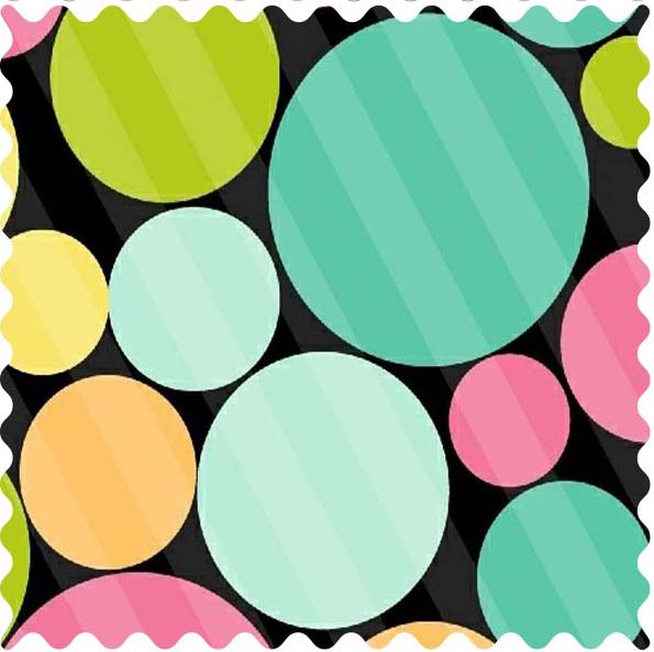 Fabric Shop – Primary Colorful Dots Black Fabric – Yard