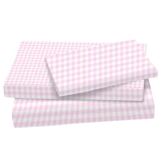 Pink Gingham Jersey Knit Twin