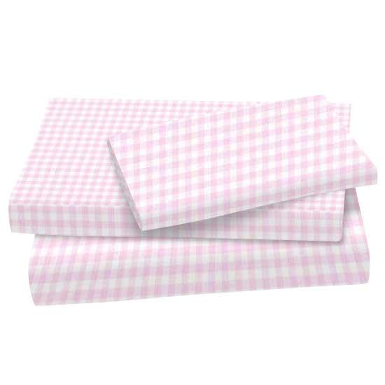 Pink Gingham Jersey Knit Twin Twin Sheet Sets Sheets