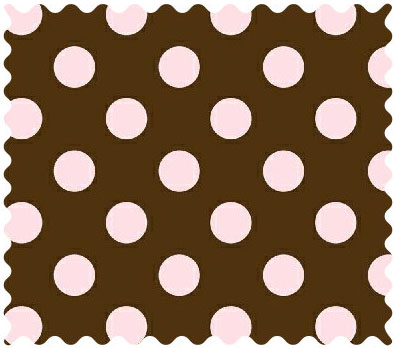 Fabric Shop - Pink Polka Dots Brown Woven Fabric - Yard