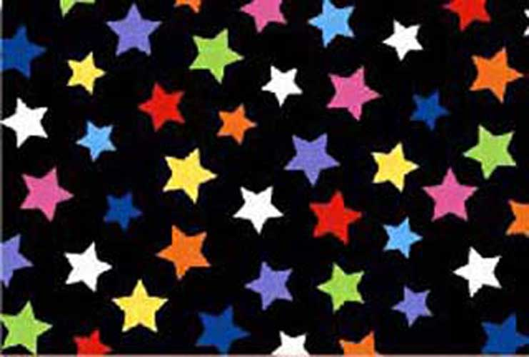 Travel Crib Light (Fits BabyBjorn) – Primary Colorful Stars On Black Woven – Fitted