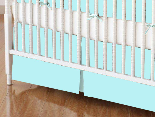 Crib Skirt - Solid Aqua Jersey Knit