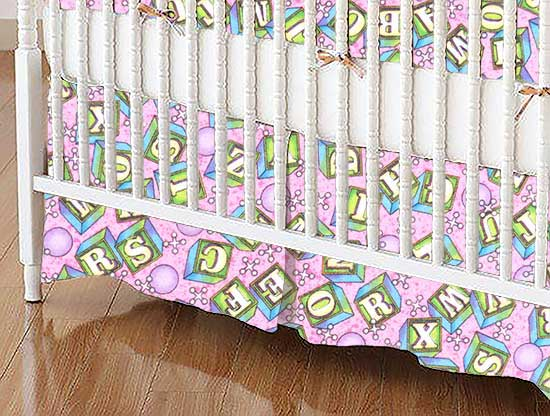 Mini Crib Skirts - Mini Crib Skirt - ABC Blocks Pink - Tailored - 100% Cotton Flannel - Flannel Mini Crib Skirts