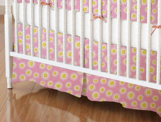 Mini Crib Skirts - Mini Crib Skirt - Pink Sunshine - Tailored - 100% Cotton Flannel - Flannel Mini Crib Skirts