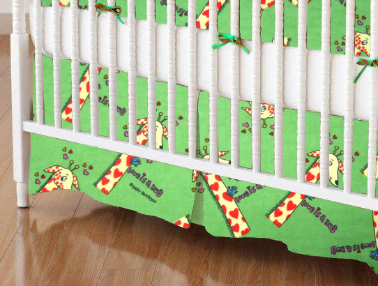 Mini Crib Skirts - Mini Crib Skirt - Giraffes Green - Tailored - 100% Cotton Flannel - Baby Animal Prints Mini Crib Skirts