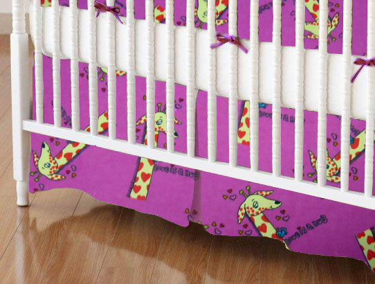 Crib Skirt - Giraffes Hot Pink