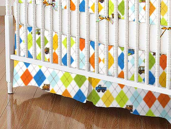 Crib Skirt - Argyle Transport