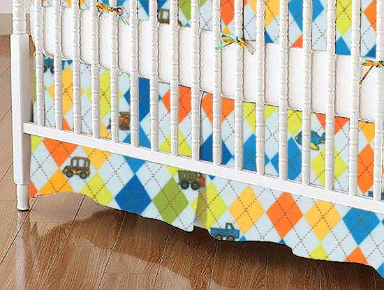 Crib Skirt - Argyle Transport Blue