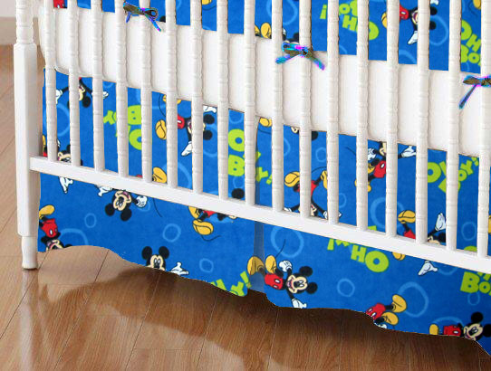 Mini Crib Skirts - Mini Crib Skirt - Oh Boy Mickey Mouse - Tailored - 100% Cotton Flannel - Character Prints Mini Crib Skirts