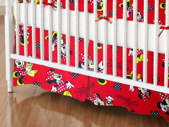 Mini Crib Skirts - Mini Crib Skirt - Minnie Mouse Polka Dot - Tailored - 100% Cotton Flannel - Character Prints Mini Crib Skirts