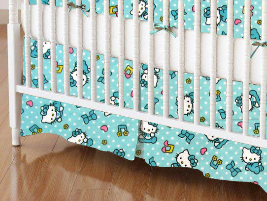 Mini Crib Skirts - Mini Crib Skirt - Hello Kitty Blue - Tailored - 100% Cotton Flannel - Character Prints Mini Crib Skirts