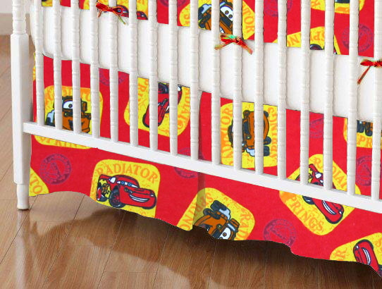 Mini Crib Skirts - Mini Crib Skirt - CARS Red - Tailored - 100% Cotton Flannel - Character Prints Mini Crib Skirts