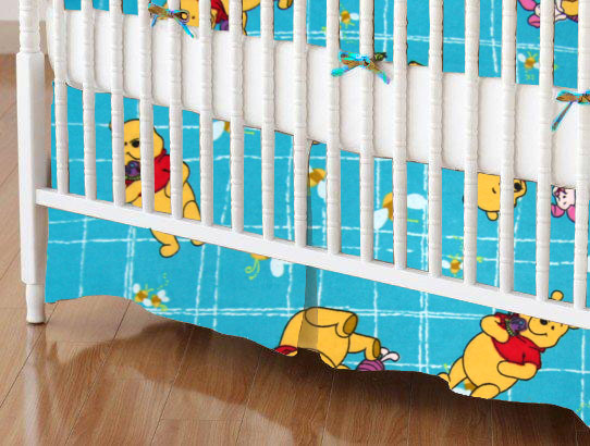 Crib Skirt - Pooh Blue Grid