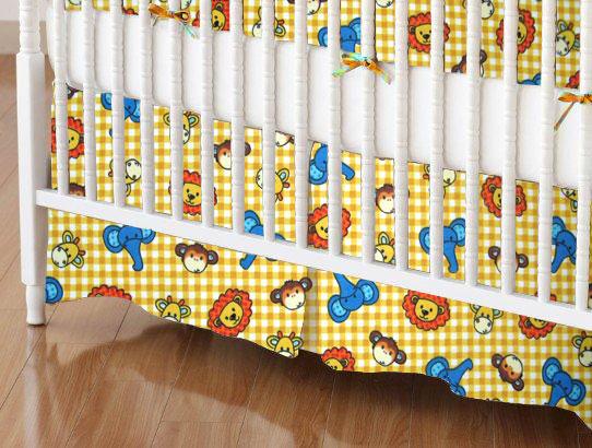 Mini Crib Skirts - Mini Crib Skirt - Safari Animals Yellow Check - Tailored - 100% Cotton Flannel - Baby Animal Prints Mini Crib Skirts