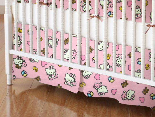 Mini Crib Skirts - Mini Crib Skirt - Hello Kitty Pink - Tailored - 100% Cotton Flannel - Character Prints Mini Crib Skirts