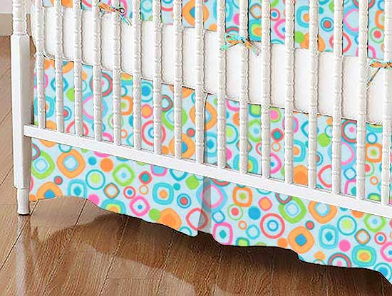 Crib Skirt - Fun Shapes Blue