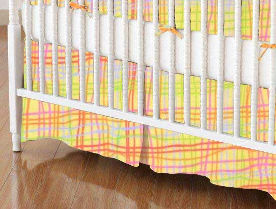 Crib Skirt - Colorful Grid Yellow