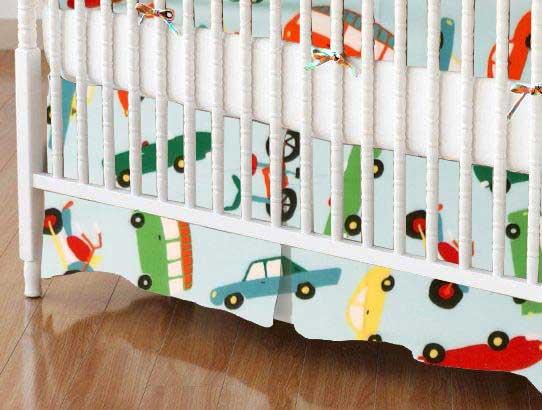 Crib Skirt - Vehicles Aqua