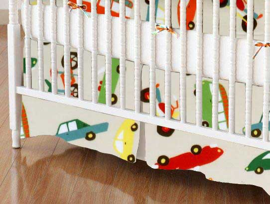 Crib Skirt - Vehicles Cream