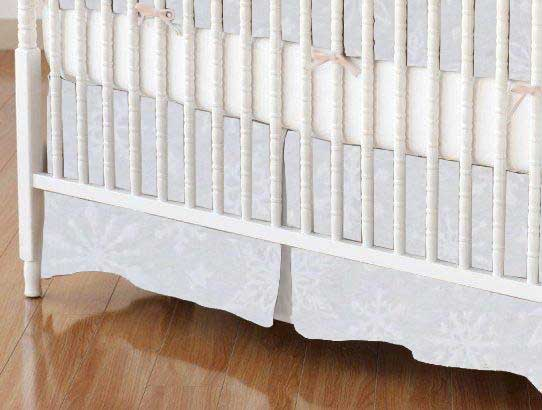 Crib Skirt - White Snowflakes