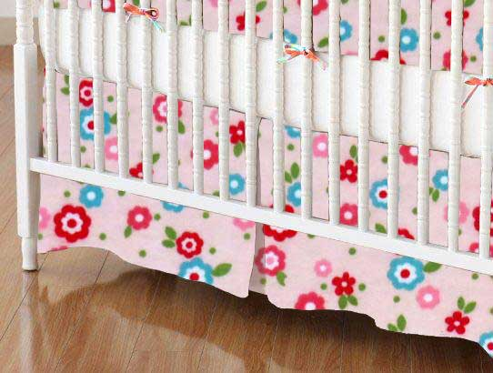 Crib Skirt - Mini Floral Pink