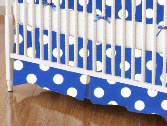 Crib Skirt - Polka Dots Royal Blue