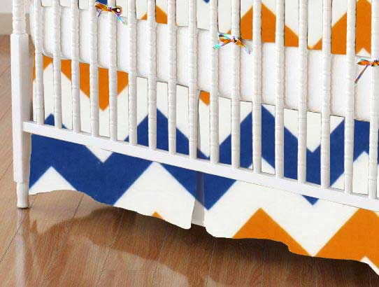 Crib Skirt - Orange & Blue Chevron