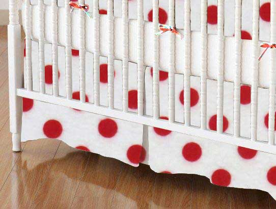 Crib Skirt - Red Polka Dots