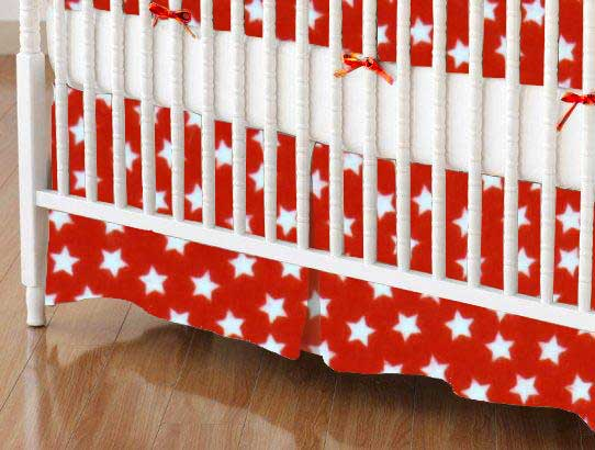 Crib Skirt - Stars Red