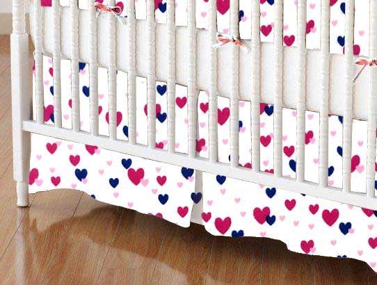 Crib Skirt - Hearts