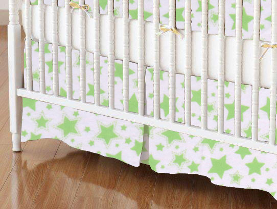 Crib Skirt - Green Stars