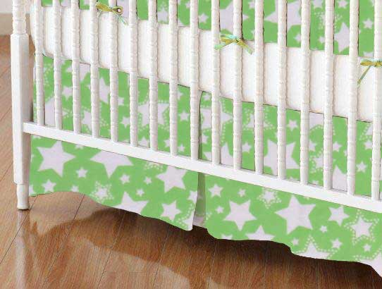 Crib Skirt - Stars Green