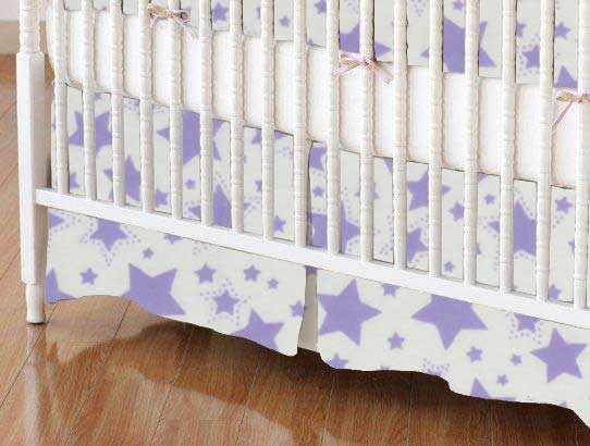 Crib Skirt - Lavender Stars