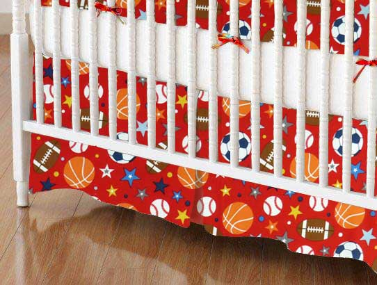 Crib Skirt - Sports Red