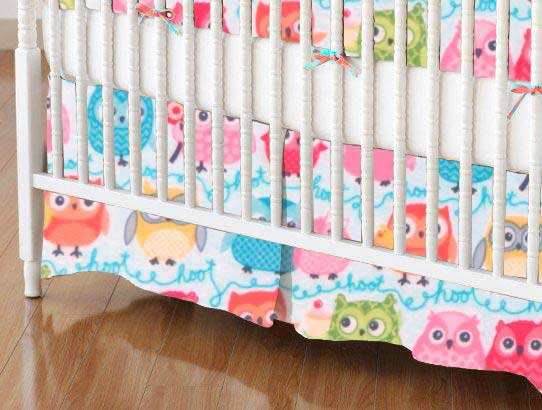 Crib Skirt - Owls Blue