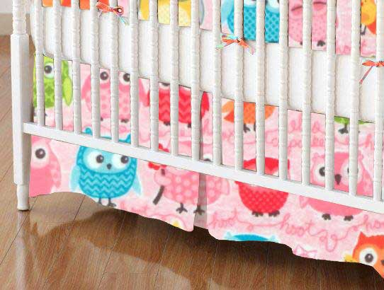 Crib Skirt - Owls Pink