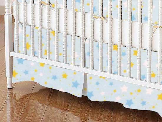 Crib Skirt - Stars Blue