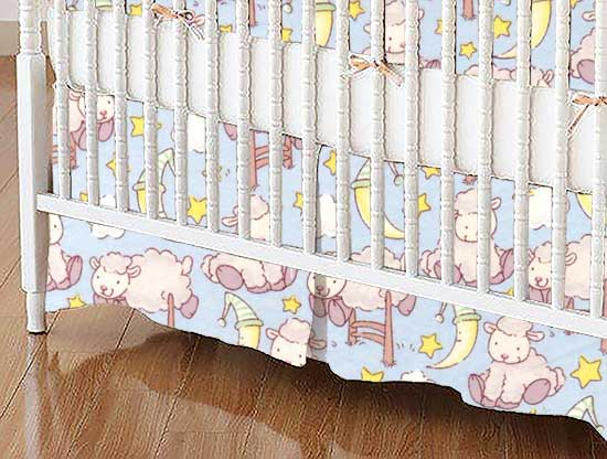 Crib Skirt - Baby Lambs Blue