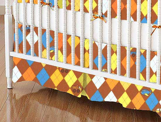 Crib Skirt - Argyle Transport Brown